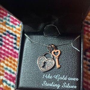 Diamond Heart Lock and Key Necklace